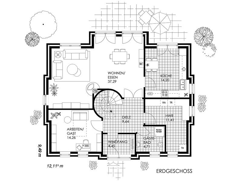 Grundriss villa  Villa - GK Bauplanung Georg Kleinert GmbH in Weyhe